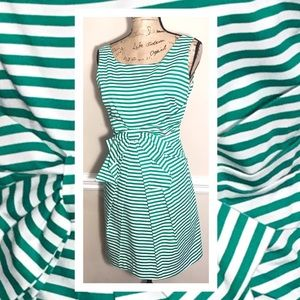 NEW DIRECTIONS STRIPED GREEN DRESS